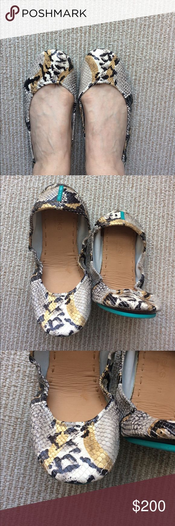 Sand Snake Tieks Gorgeous Sand Snake Tieks in excellent condition. Small amount of wear on both heels as pictured. Will include box, flower and Tieks bags. Tieks Shoes Flats & Loafers