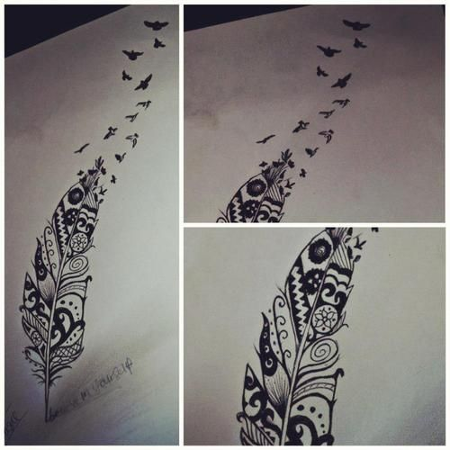 aztec / feather / birds tattoo design <3 I don't think I would get this because it is so big but it is beautiful!