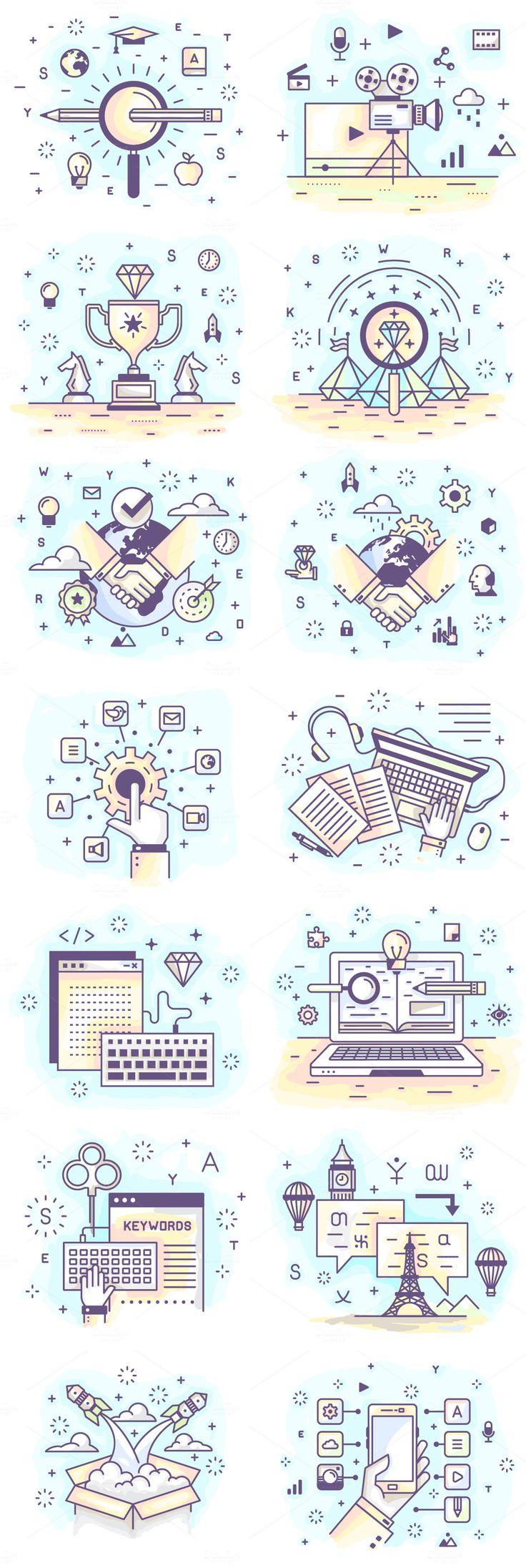 28 Mini Illustration. by Crocolot on @creativemarket