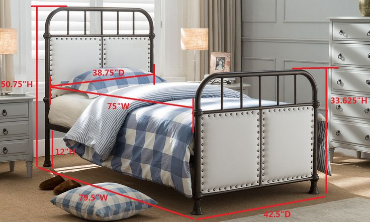 Alpine Pewter Upholstered Faux Leather Transitional Metal Bed (Headboard, Footboard, Rails & Slats)