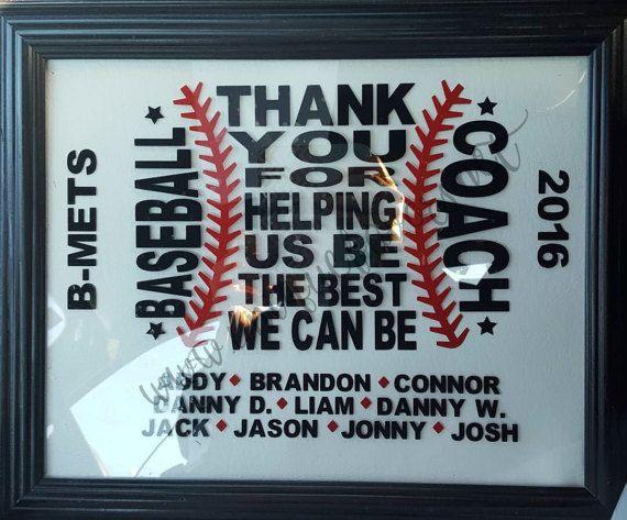 Custom Baseball Coach gift. Add team name players and year
