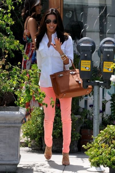 peach pants and classic white shirt
