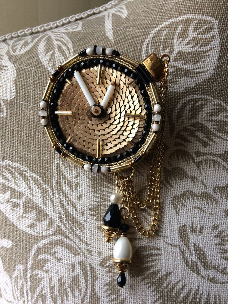 """Купить Брошь """"Карманные часы"""". - золотой, сутажная брошь, брошь, сутажная вышивка, винтажный стиль"""