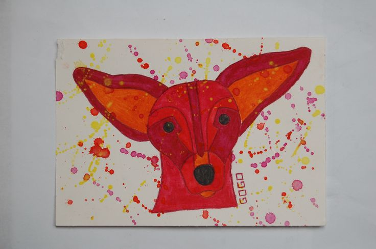Nera, dog, watercolor