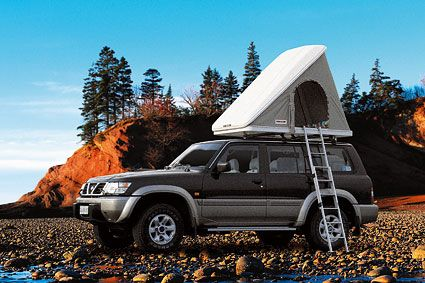 """If I didn't have a 75lb dog (who is sadly unable to climb ladders) I would definitely grab one of these! """"Columbus roof top tent"""""""