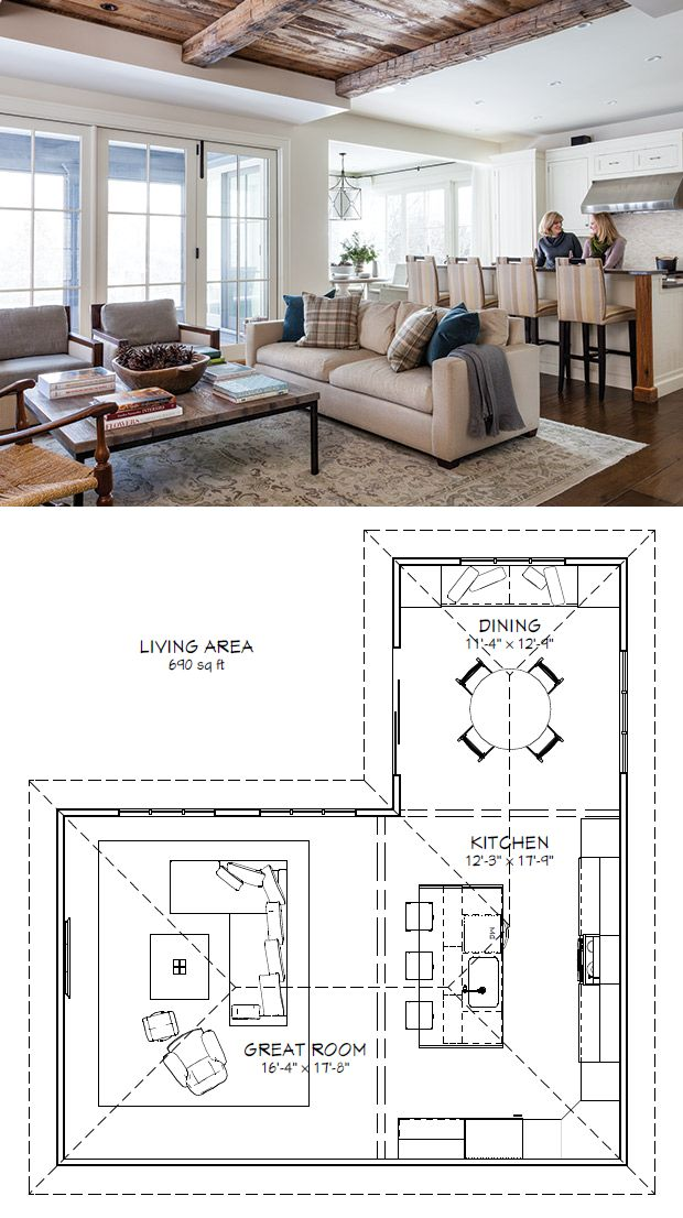 Great room, kitchen, dining room layout