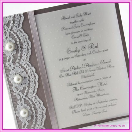 DIY Wedding Invitation -  Lace & Pearls