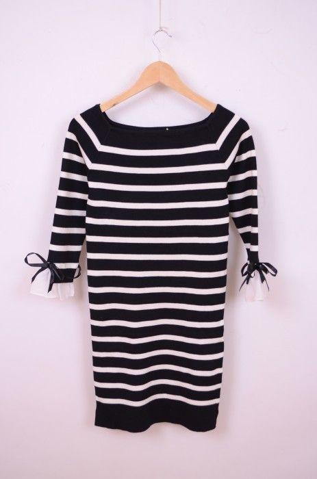 Poze Rochie tricotata, in dungi, cu fundite la maneci