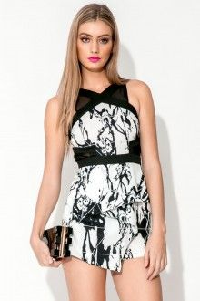 Paloma Playsuit - White & Black