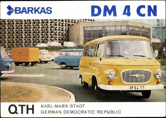 Postkarte #Barkas, DM 4 CN, QTH, Karl Marx Stadt, DDR, Auto