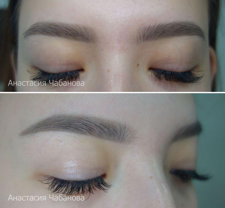 Перманентный макияж бровей в технике теневая растушёвка. Инстаграм: @Anastasiya_tatuazh
