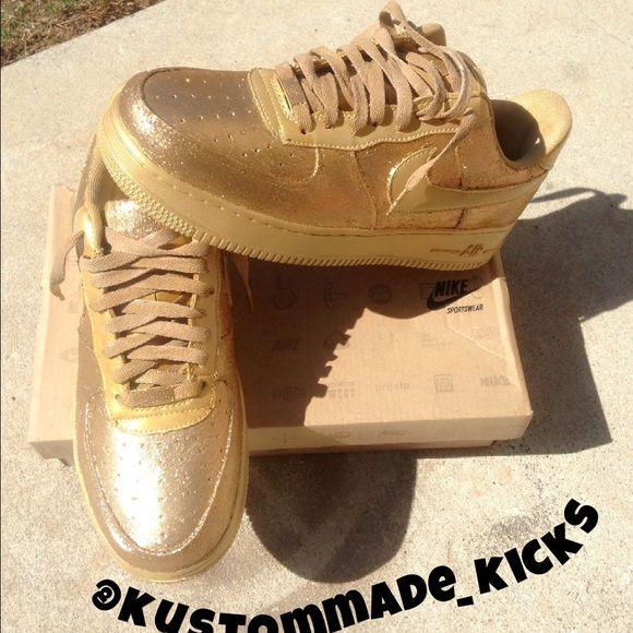 Custom Air Force 1 14k Gold Glitter Air Force 1 Nike Shoes