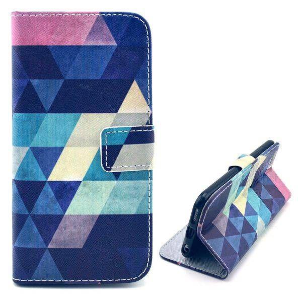 Kleurrijke driehoeken bookcase hoes voor iPhone 6 Plus