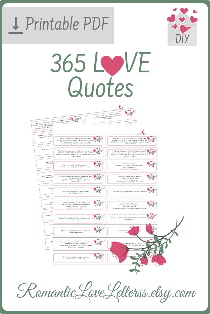 365 PRINTABLE True Love Quotes and Sayings Note Cards Inspirational Quotes About Love and Marriage Romantic Sentimental Gifts For Couples