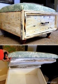 Make a drawer an ottoman by attaching wood board as top with hinges - and apholster it