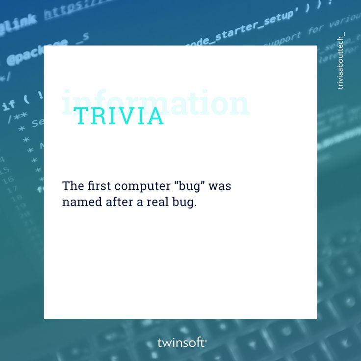 """Το 1947, η Grace Hopper, κατέγραψε στις σημειώσεις της το πρώτο """"bug"""" στην ιστορία της τεχνολογίας, την ώρα που δούλευε σε έναν υπολογιστή Mark II. Μια πεταλουδίτσα της νύχτας βρέθηκε κολλημένη στο ρελέ και εμπόδιζε τη λειτουργία του συστήματος. Στις σημειώσεις της, η ίδια είχε γράψει """"Πρώτη πραγματική περίπτωση σφάλματος (bug).""""  #twinsoft #trivia"""