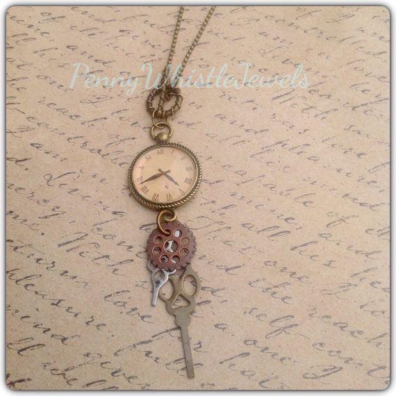 Steampunk Clock Part Necklace, Clock Necklace, Clock Parts, Vintage Inspired