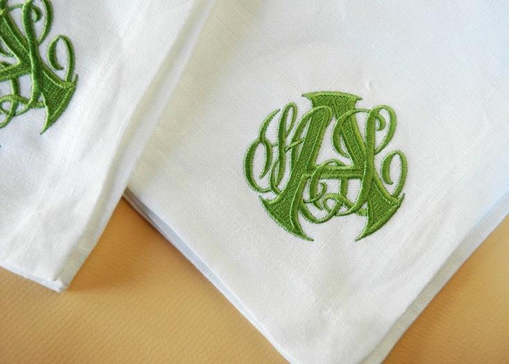 Custom Monogram on linen napkins
