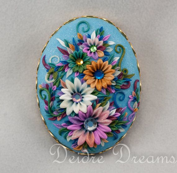 Marie Antoinette Flower Garden Brooch - Polymer Clay Embroidery Cameo Pin - Polymer Clay Flowers - Romantic Flower Brooch - Summer Flowers. €22,95, via Etsy.