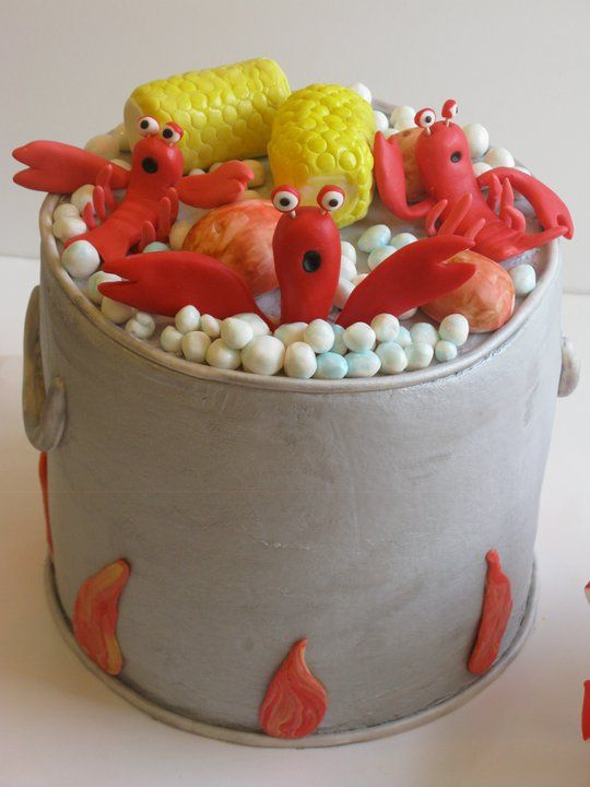 #Crawfish Boil #Cake by Cakes by Kerrin (I just love the lobsters' expressions!)
