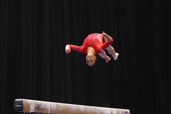 Alicia Sacramone competes on the balance beam during the Senior Women's competition on day two of the Visa Championships at Chaifetz Arena on June 8, 2012 in St. Louis, Missouri.