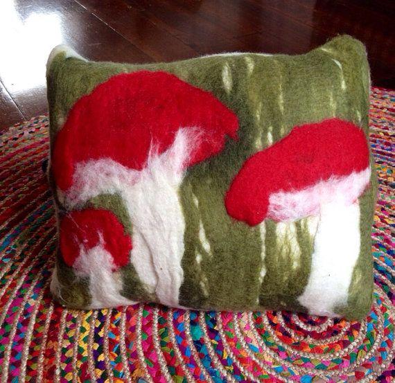 Felted cushion  organic form  toadstools by radishandruth on Etsy