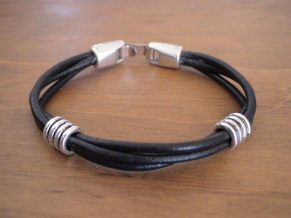 Men's leather bracelet http://www.thesterlingsilver.com/product/bling-jewelry-mens-cz-square-asscher-cut-stud-earrings-925-sterling-silver-6mm/
