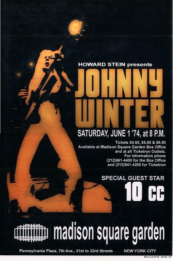 Concert poster Johnny Winter - Madison Square Garden New-York - Satuday, june 1 1974