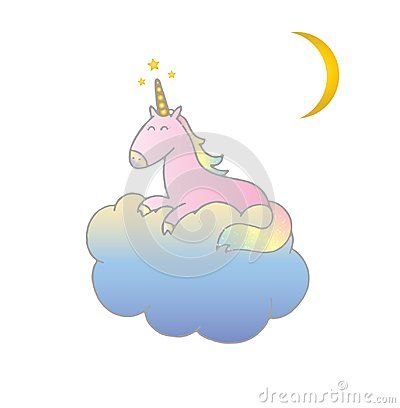 Pink Unicorn Vector illustration isolated on white background. Hand drawn cute unicorn sleeping on a blue cloud, good night stars and moon, sweet dreams.