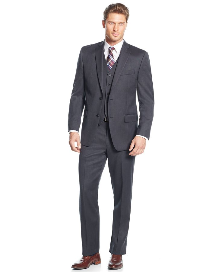 MICHAEL Michael Kors Charcoal Birdseye Vested Big and Tall Suit - Suits & Suit Separates - Men - Macy's