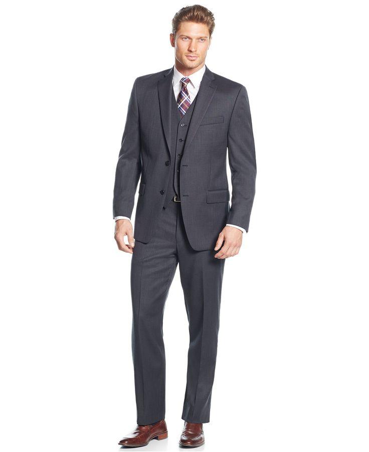 MICHAEL Michael Kors Classic-Fit Charcoal Birdseye Vested Suit - Suits & Suit Separates - Men - Macy's