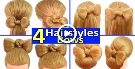 4 Fast and easy everyday hairstyles with HAIR BOWS! - PEINPOLIS - #alltag #simple #styles #hair bow #peinp