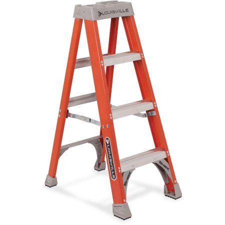 Louisville Llr25995 4 Fiberglass Step Ladder 1 Each Orange Silver Step Ladders Ladder Fiberglass