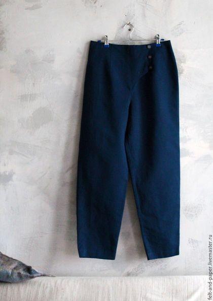 Брюки, шорты ручной работы. Ярмарка Мастеров - ручная работа. Купить Синие брюки с декоративной застёжкой. Handmade. Тёмно-синий