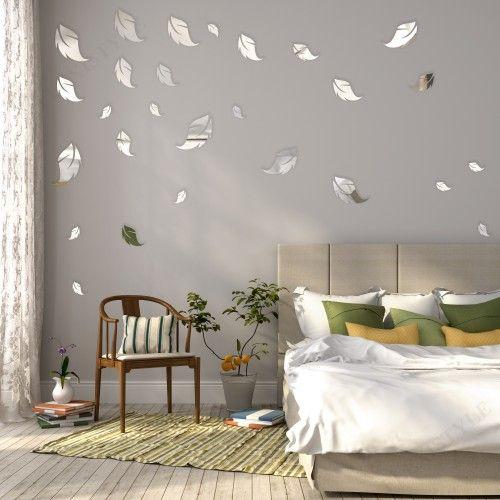Bytové dekorácie zrkadlá v tvare listov