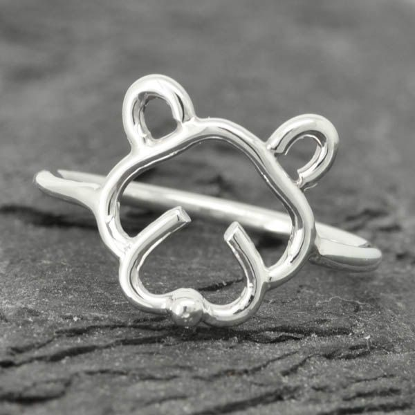 Dog ring, dog face ring, cute dog, 925 sterling silver, doggy, Bridesmaid Gift, Maid of honor gift by JubileJewel on Etsy