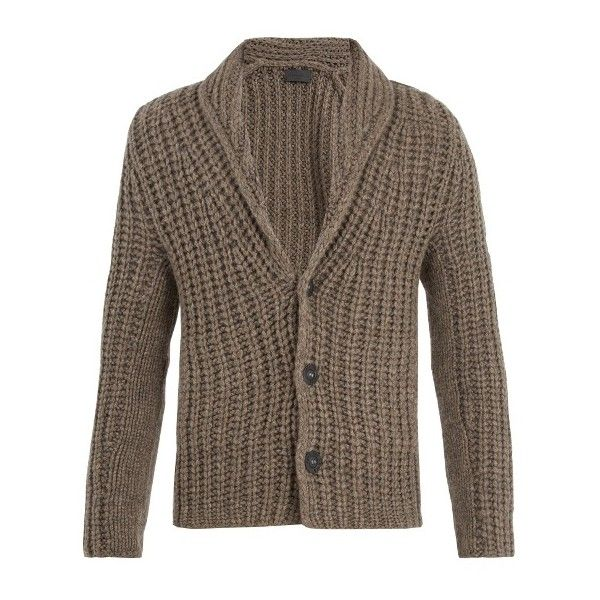 Iris Von Arnim Shawl-collar chunky ribbed-knit cashmere cardigan (€1.285) ❤ liked on Polyvore featuring men's fashion, men's clothing, men's sweaters, brown, mens shawl collar sweater, mens ribbed sweater, mens cardigan sweaters, mens brown sweater and mens shawl collar cardigan sweater