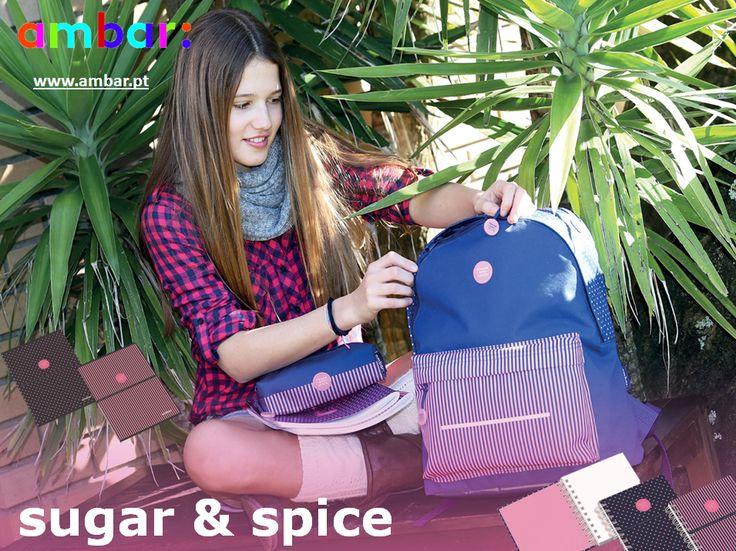 Linha Sugar & Spice da ambar: com um design atrativo e inspirada nas atuais tendências, esta coleção volta ainda mais irreverente. Sometimes Sugar, Sometimes Spice! #ambarideiasnopapel #regressoasaulas #mochilas #a: