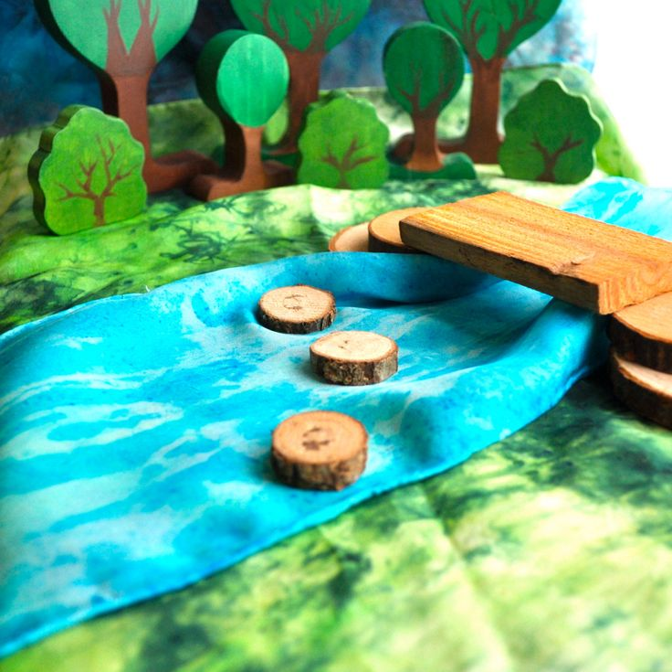 Wooden Toy, PlaySilk Creek and Natural Bridge Set - Landscape Play / Waldorf Toys. $30.00, via Etsy.