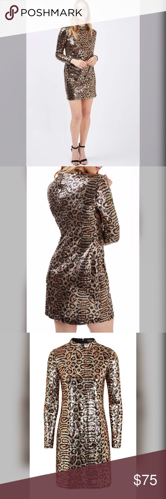 1 HR SALE Topshop Animal Print Sequins Dress SALE❤❤❤Brand new with tag Topshop Animal Print Sequins Body Con Dress US4. Super ready for a great night out or party dress, ready for a great time dress with a stunning shine of sequins. True to size. Pls refer to the picture# 4 for sizing. $110 retail price, make me an offer.. Topshop Dresses Mini