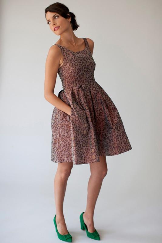 Dress Marilyn i leopard jacquard fabric