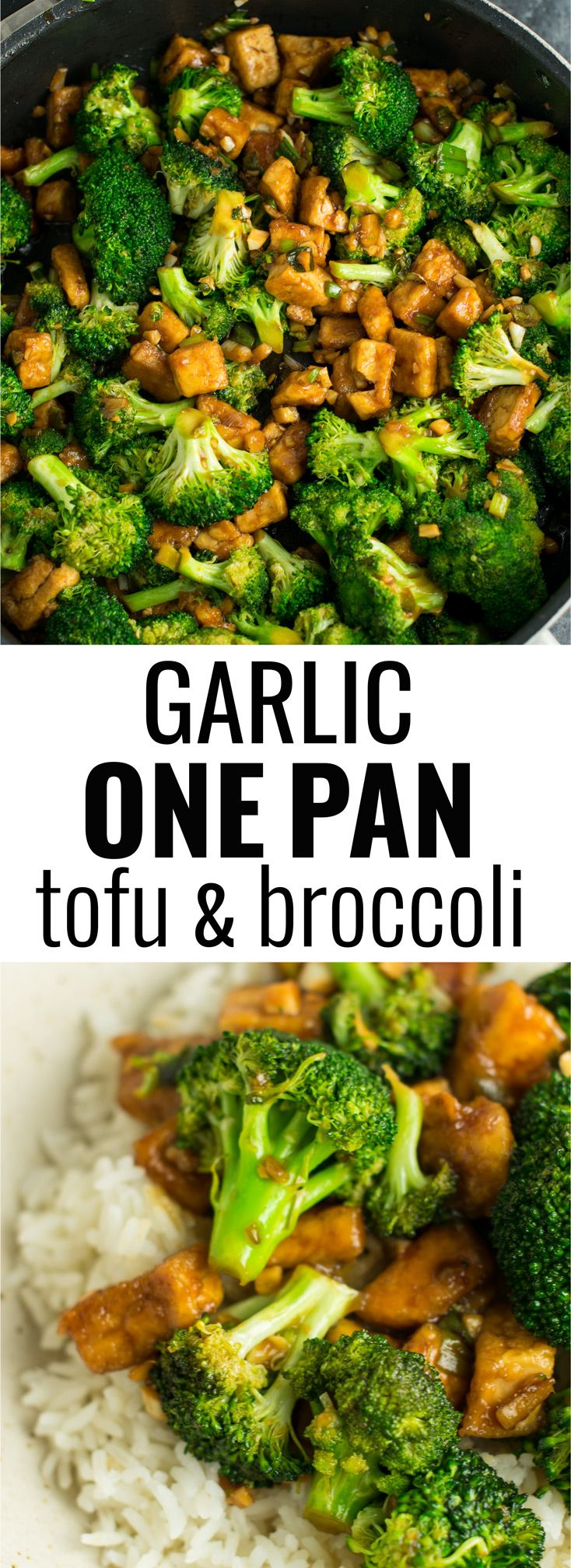 Garlic tofu broccoli skillet recipe made in just one pan. A healthy alternative to takeout in a rich garlicky sauce with fresh broccoli.