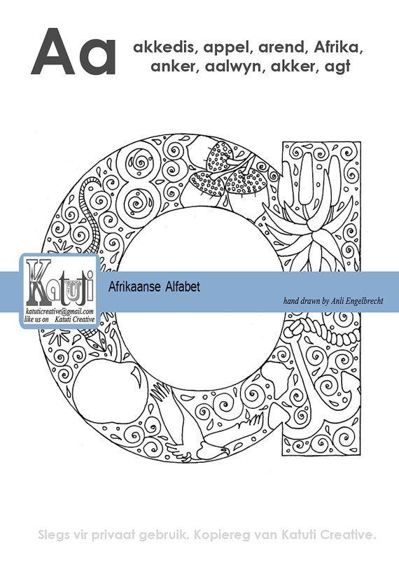 AFRIKAANS alphabet complete set for coloring by Katutidigital