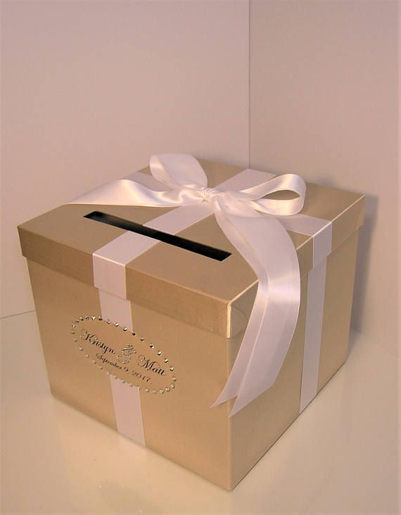 Wedding Quinceanera Sweet 16 Card Box Champagne And Ivory Gift Card