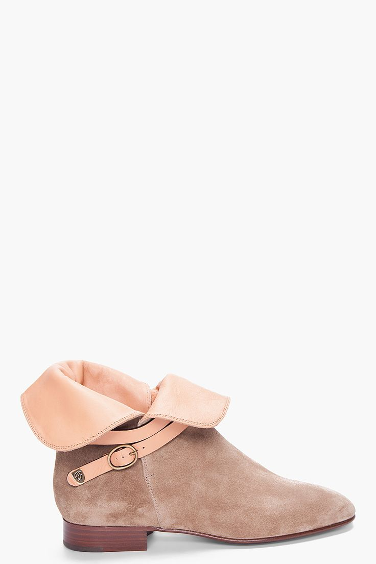 taupe suede ankle boots ++ chloe