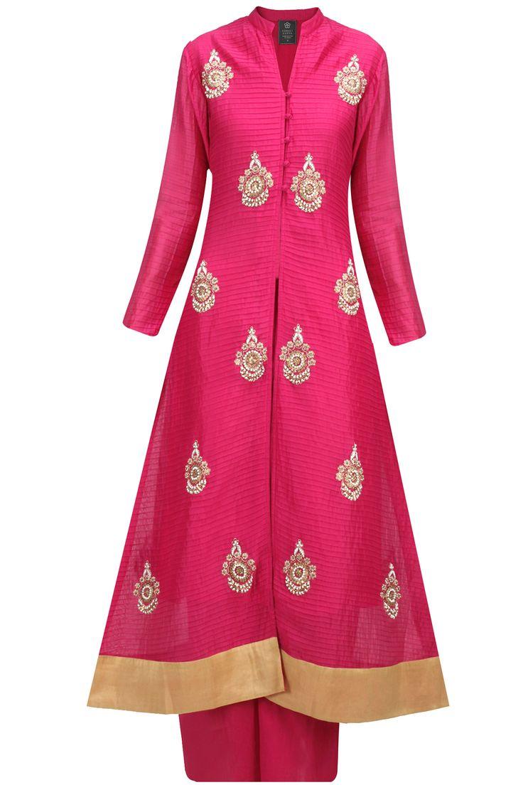 Pink embroidered pintucks kurta with palazzos BY SONALI GUPTA. Shop now at: http://www.perniaspopupshop.com/ #perniaspopupshop #pink #embroidered #pintucks #floorlength #kurta #designer #label #love #fashion #style #trend #palazzos #beautiful #SonaliGupta #happyshopping