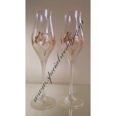 κρύσταλλο Ποτήρι σαμπάνιας γάμου χρυσές πεταλούδες Crystal hand painted wedding champagne flute Golden butterflies