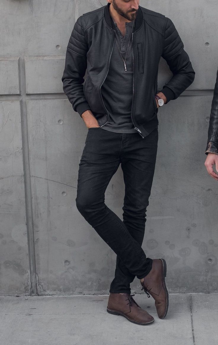 What to wear to a show and drinks - men's casual outfit ideas - black jeans brown boots - leather bomber jacket