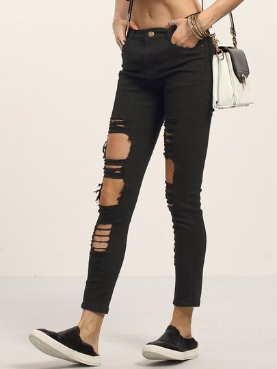1000  ideas about Ripped Black Skinny Jeans on Pinterest   Black ...
