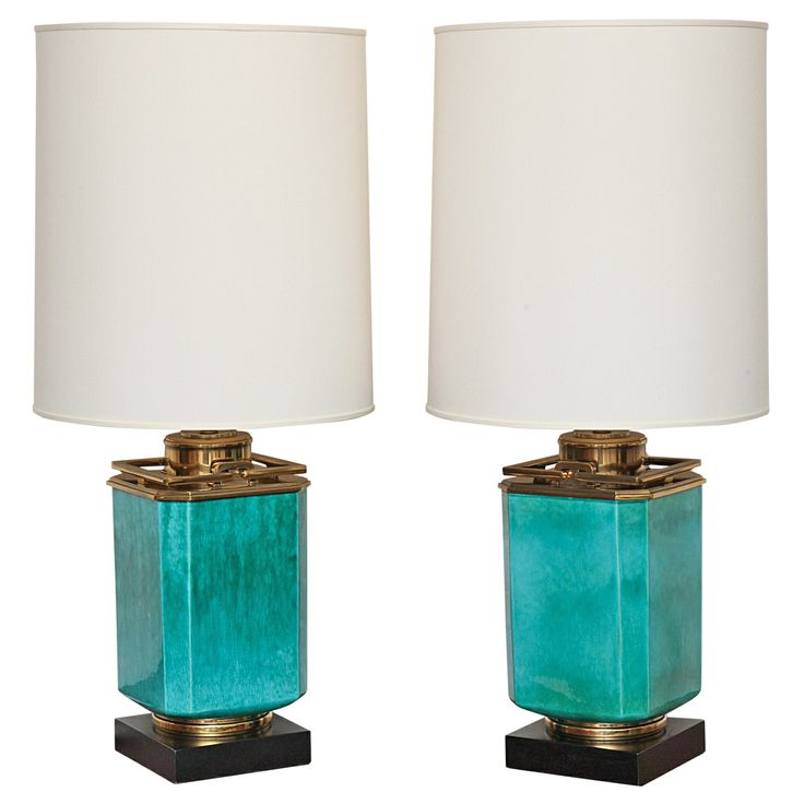 Pair Of Turquoise Lamps With Brass Trim By Stiffel, c. 1960 | From a unique collection of antique and modern table lamps at http://www.1stdibs.com/lighting/table-lamps/